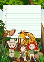 Modelo de fronteira com crianças e animais