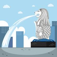 Landmark background with merlion fountain