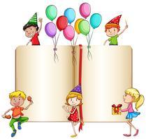 Children celebrating and a book