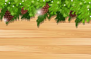 Background template with pinecone and pine leaves