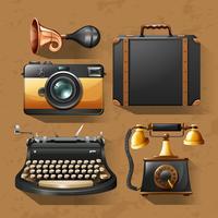 Câmera e outros itens em estilo vintage