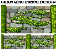 Seamless fence with flowers