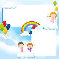 Fahnenschablone mit Kindern und blauem Himmel
