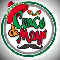 Cinco de mayo card template with maxican hat and maracas