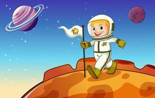 Un niño en el espacio exterior.