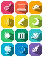 Science symbols on color icons