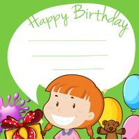 Design de fronteira com a garota no aniversário