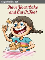 Una niña comiendo un pastel