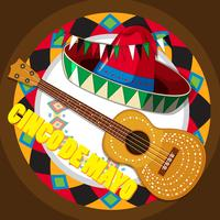 Guitar and mexican hat on round background
