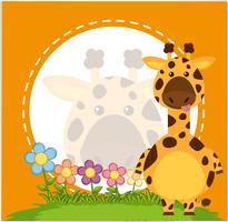 Grensmalplaatje met giraf in tuin