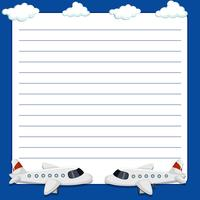 Line paper template with two airplanes