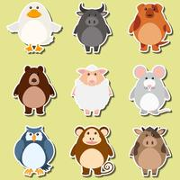 Stickerontwerp voor schattige dieren