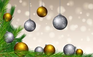 Background template with gold and silver balls