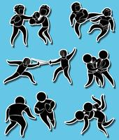 Sticker designs for different martial arts