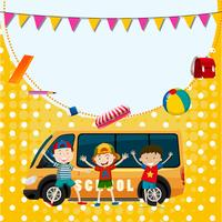 Modello di banner con tre ragazzi e minivan