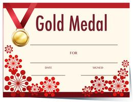 Certificate template with gold medal
