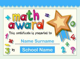 Certificate template for math award with golden star