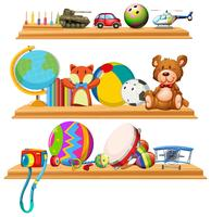 Toys and instruments on wooden shelves