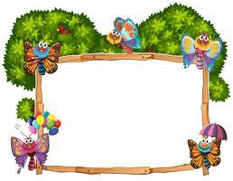 Border template with butterflies in garden vector