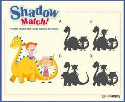 Schaduw matching game sjabloon met kinderen en draak