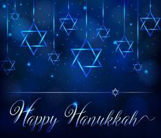 Modello di carta felice hanukkah con simbolo stella blu