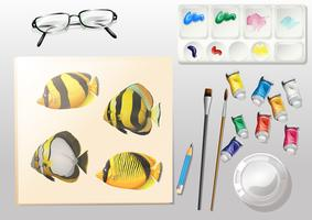 A topview of a painting and the different painting materials