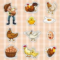 Sticker design for farmer and chickens