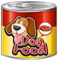 Hundefutter in Aluminiumdose mit niedlichem Hund auf Etikett