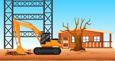 Bulldozer gräva hål på byggarbetsplatsen