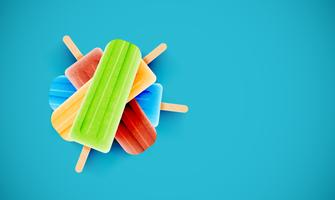 Colorful ice creams on blue background, vector illustration
