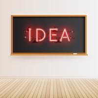 Segno al neon di parola su una lavagna realistica, illustrazione di vettore