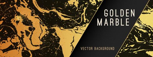 Gold Marble Vector Background with Banner