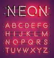 High detailed neon character set, vector illustration