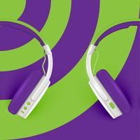 Fones de ouvido realistas, com fios em um fundo colorido, ilustração vetorial