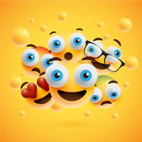 Realistic yellow emoticons in front of a yellow background, vector illustration