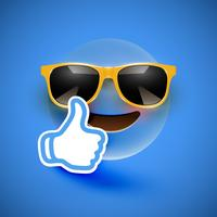 Realistic emoticon with sunglasses and thumbs up, vector illustration