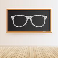 Hoog gedetailleerd zwart bord met houten vloer en getrokken oogglazen, vectorillustratie