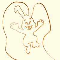 3D línea arte conejo animal ilustración, ilustración vectorial