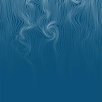 Wavy abstract dots and lines swirl in blue background, vector illustration