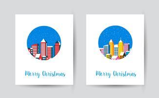 Città piana di paesaggio invernale di Natale