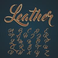 Jeu de caractères en cuir réaliste, illustration vectorielle
