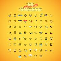 Realistic yellow emoticon set in front of a yellow background, vector illustration