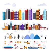 Set städtische flache Gebäude