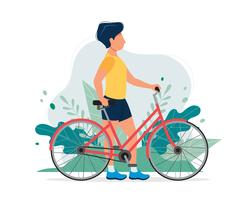 Happy man with a bike in the park. Vector illustration in flat style, concept illustration for healthy lifestyle, sport, exercising.