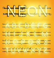 Alto conjunto de caracteres de neón detallada, ilustración vectorial