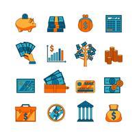 Conjunto de ícones plana de negócios Finanças