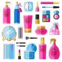 Maquillaje accesorios de belleza iconos planos establecidos