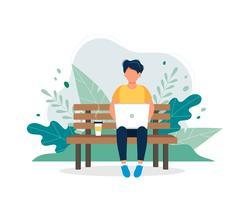 Hombre con la computadora portátil que se sienta en el banco en naturaleza y hojas. Ilustración del concepto para trabajar por cuenta propia, trabajar, estudiar, educación, trabajo desde casa, estilo de vida saludable. Ilustración vectorial en estilo plan