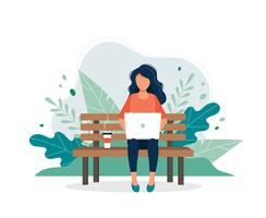 Woman with laptop sitting on the bench vector