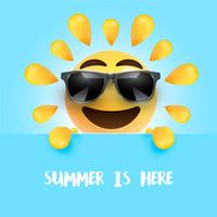 "Funny sun-smiley with the title ""summer is here"", vector illustration"
